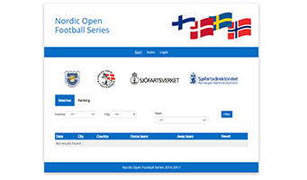 Screenshot from the Nordic football series website.